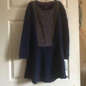 NEW! Blue cotton/multicolor glitter knit dress
